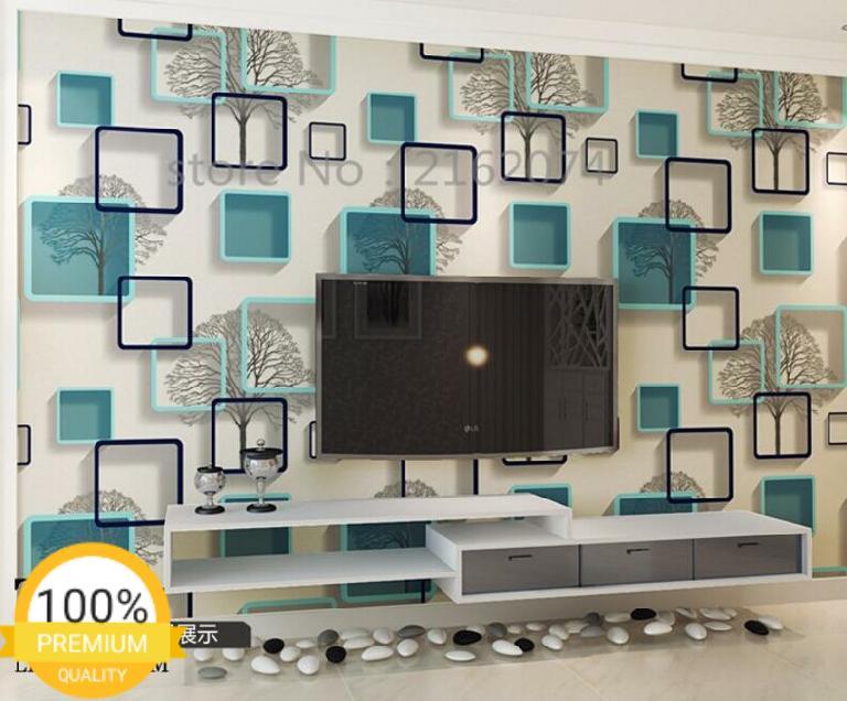 Grosir murah wallpaper sticker dinding kamar ruang indah putih kotak biru pohon hitam