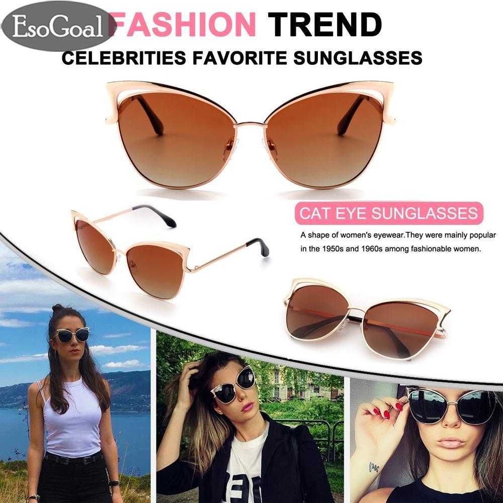 EsoGoal Modis Kacamata Hitam Kucing Mata Gaya Bingkai Logam Wanita Kacamata  Hitam UV Perlindungan Mata Kacamata a216e1cb17