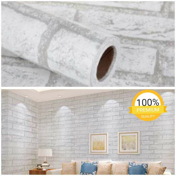 Wallpaper Sticker Dinding Motif Batu Bata Putih Cantik Elegan Bagus Sekali 10 meter