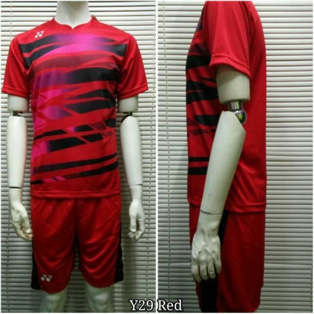 Kaos Baju Setelan Olahraga Jersey Badminton / Bulutangkis Yonex Y29 Merah