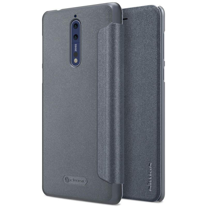 Nillkin Sparkle Series New Leather Case for Nokia 8 - Hitam