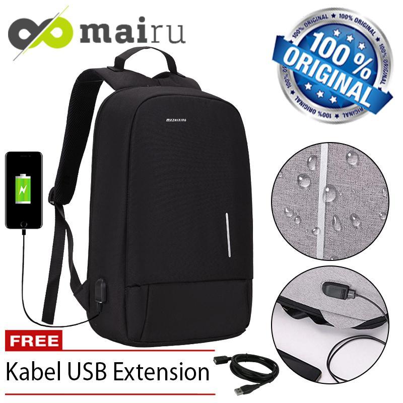 Mairu 3194W Tas Ransel Laptop Pria Wanita Sekolah Anti Maling Backpack  Kanvas Travel Support USB Charger Port Unisex Korea 613d10015d