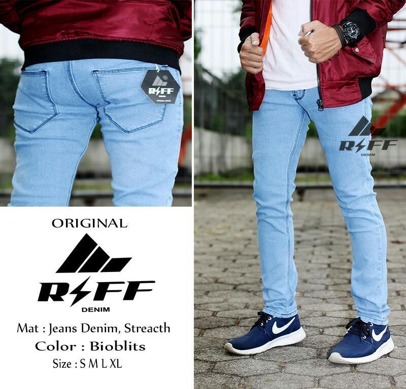 celana jeans pria panjang bioblitz/biru muda skinny