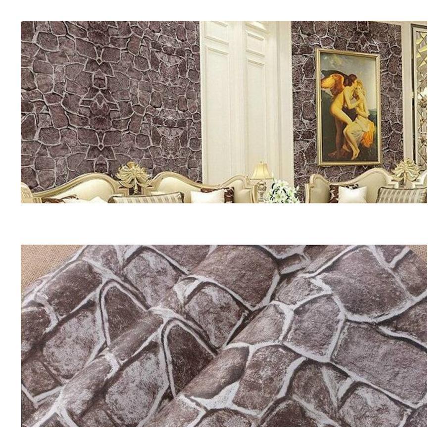 Wallpaper Sticker Dinding Motif Batu ALam Coklat Cantik Elegan Bagus Sekali 10 meter