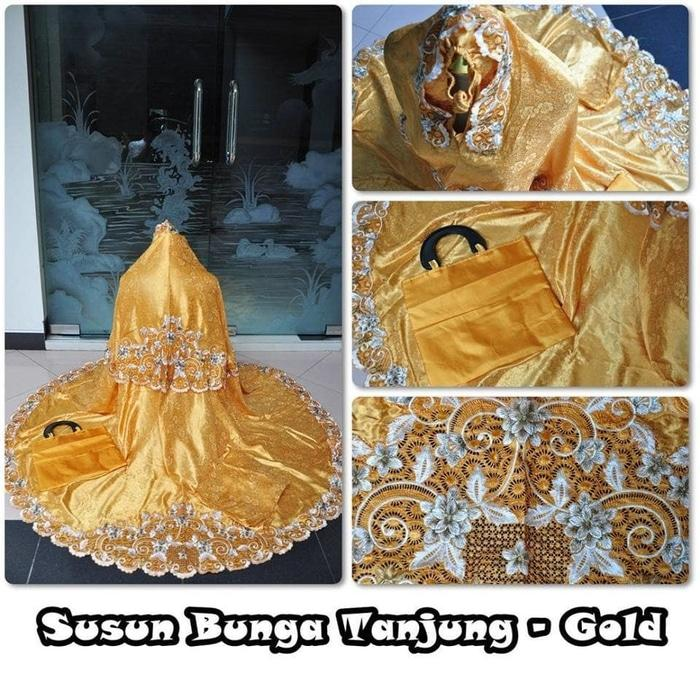 MUKENA SUSUN BUNGA TANJUNG (GOLD) / PERLENGKAPAN SHOLAT / ALAT SHOLAT / TELEKUNG /