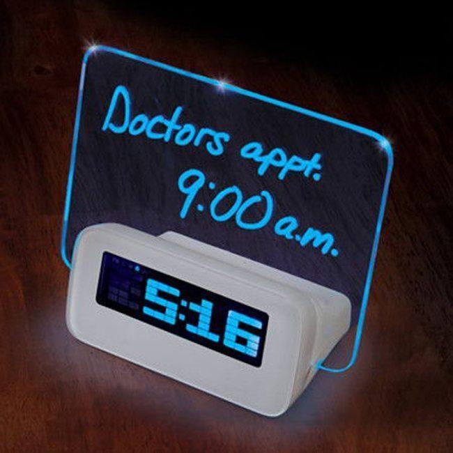 Digital LED Alarm Clock Memo Board Jam Weker Unik Dengan Papan Tulis Menyala 676ce21034