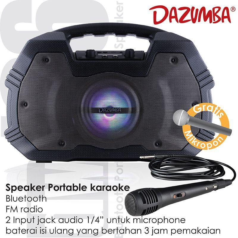SPEAKER PORTABLE BLUETOOTH KARAOKE DAZUMBA DW 196 GRATIS MIC