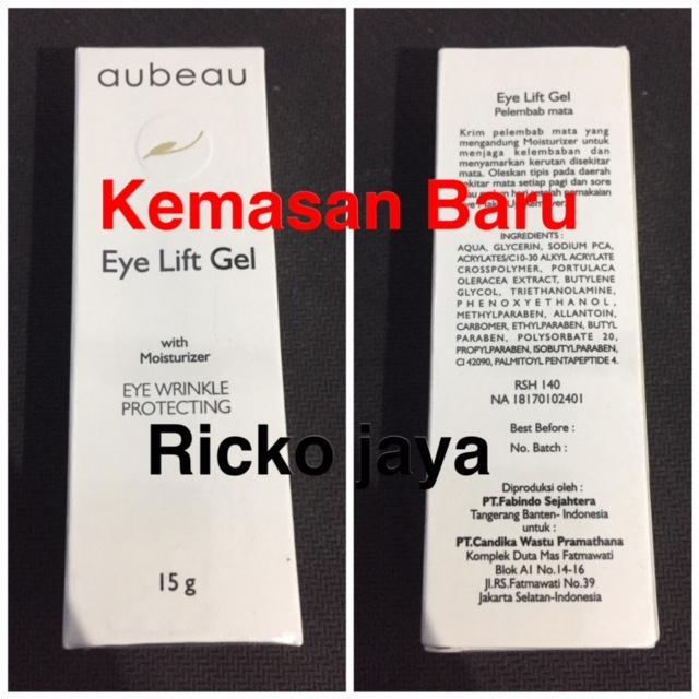 Aubeau Eye Lift Gel With Moisturizer - Cream Penghilang Kerut Dan Mata panda Herbal 15 Gram