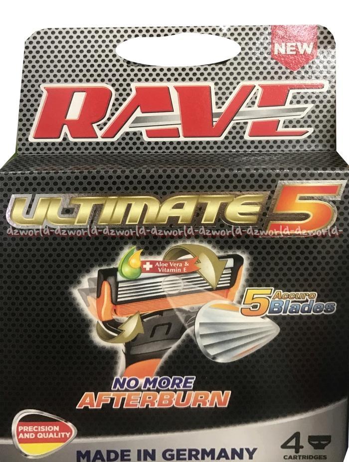 Refill Rave Ultimate 5 Pisau Cukur Rafe Razor Shave Isi 4Cartides