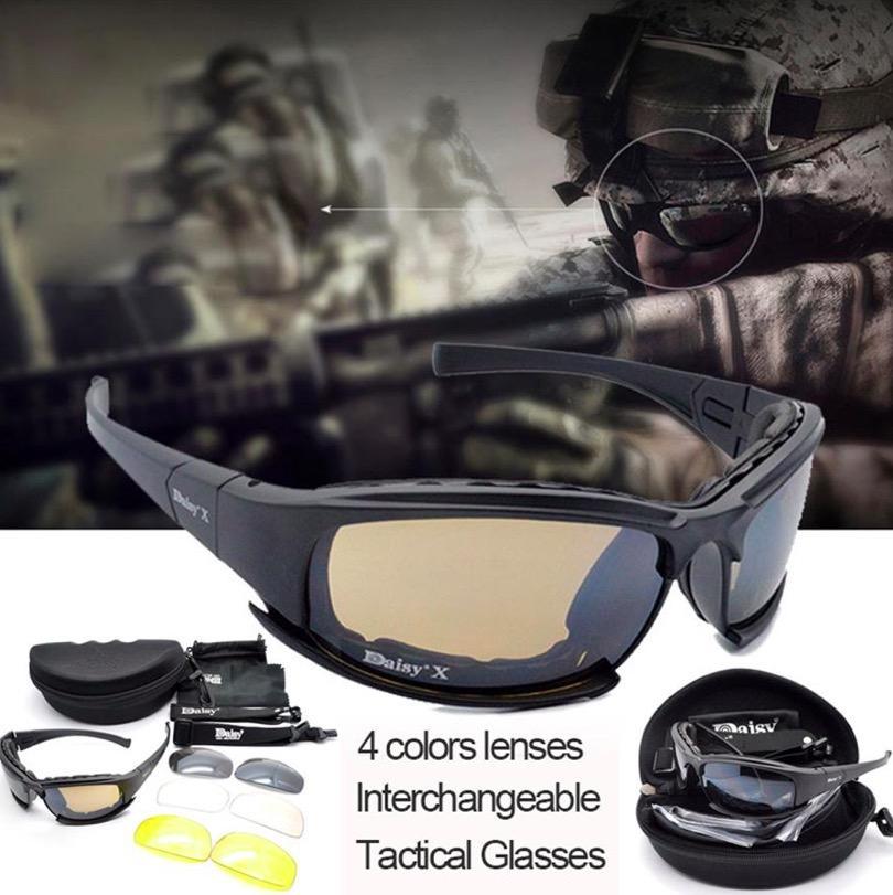 Daisy X7 Anti Peluru Kacamata Tentara Pria Berburu Menembak Airsoft Taktis Kacamata Gafas Warna Hitam 4lenses