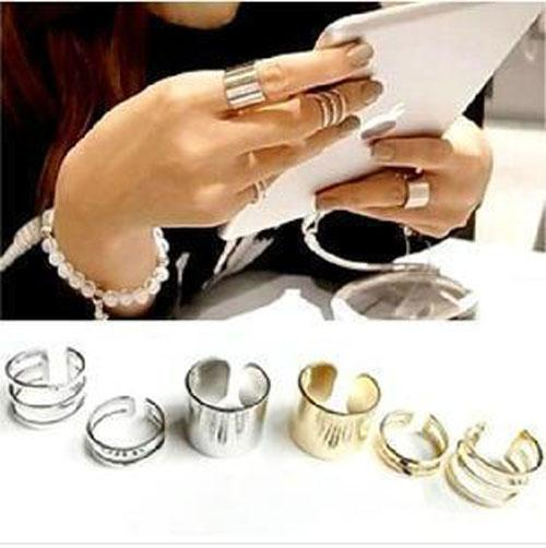 cincin set logam shinning star three-piece Sun Ring jci019