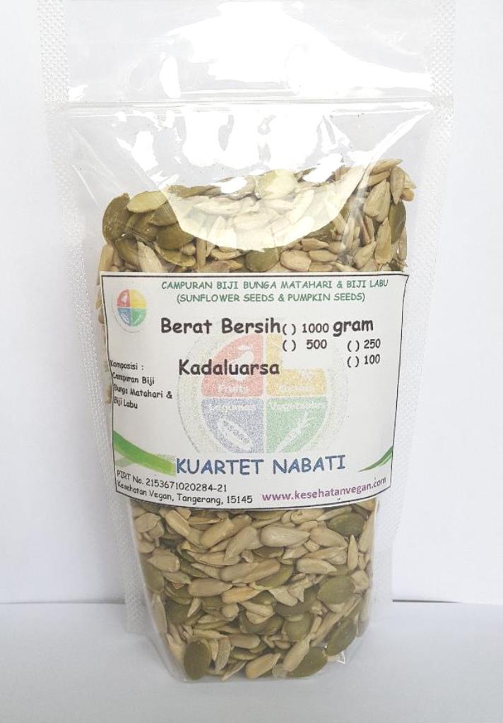 Kuartet Nabati Campuran Biji Labu & Biji Bunga Matahari Kupas 250 gr