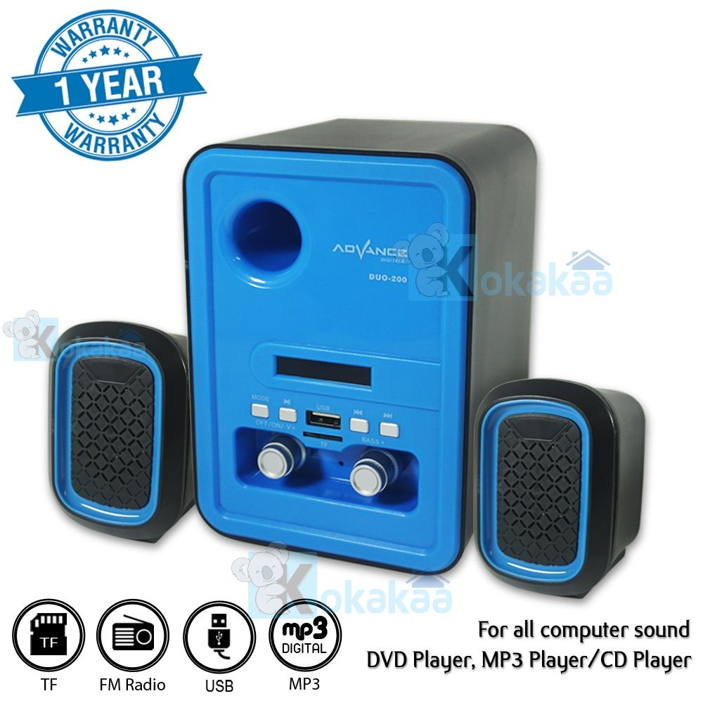 Advance Speaker Active Multimedia Subwoofer System Duo 2000 Update 500 Sj0038 Digital Mini 200x Xtra Power Sound Rechargeable Biru