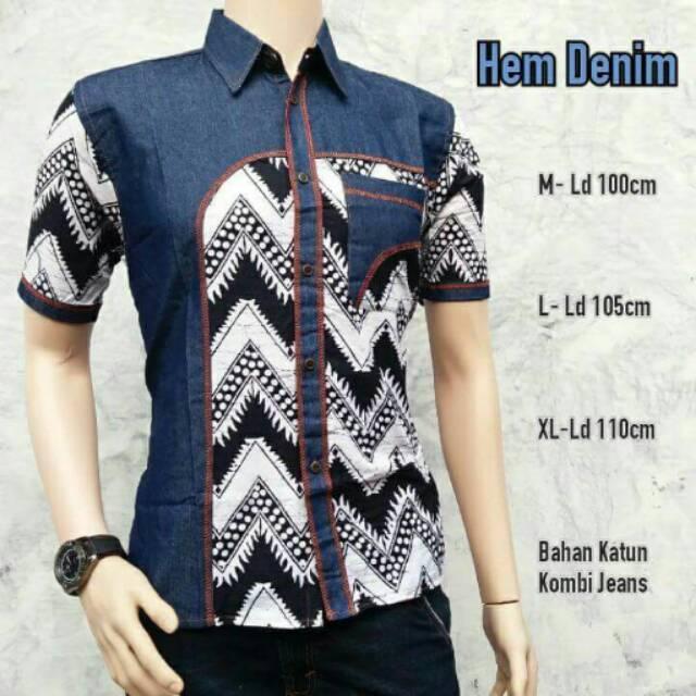 Batik - Kemeja Batik Pria Kombinasi Denim   Kemeja Batik Lengan Pendek    Hem Batik Pria 7b742d8600