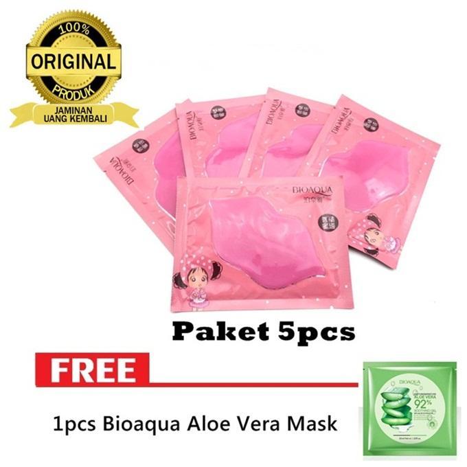 5pcs Masker Bibir Bioaqua Collagen Nourish Lips Mask - Masker Bibir Pink