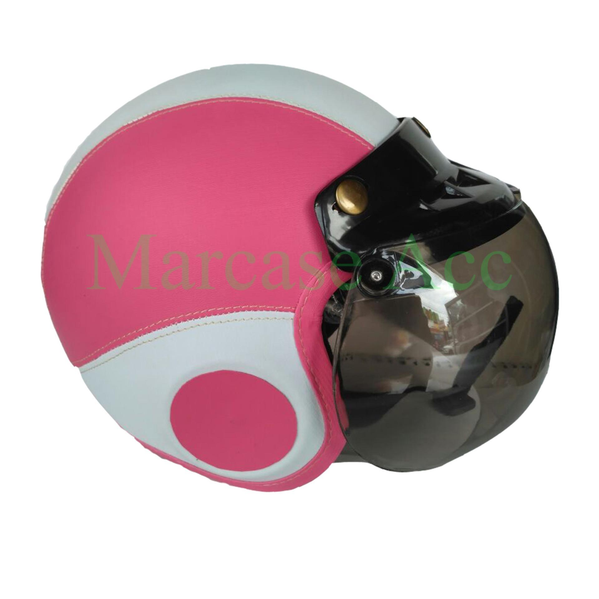 Marcase Helm Anak Retro Bogo 4-7 Tahun Pink/Putih