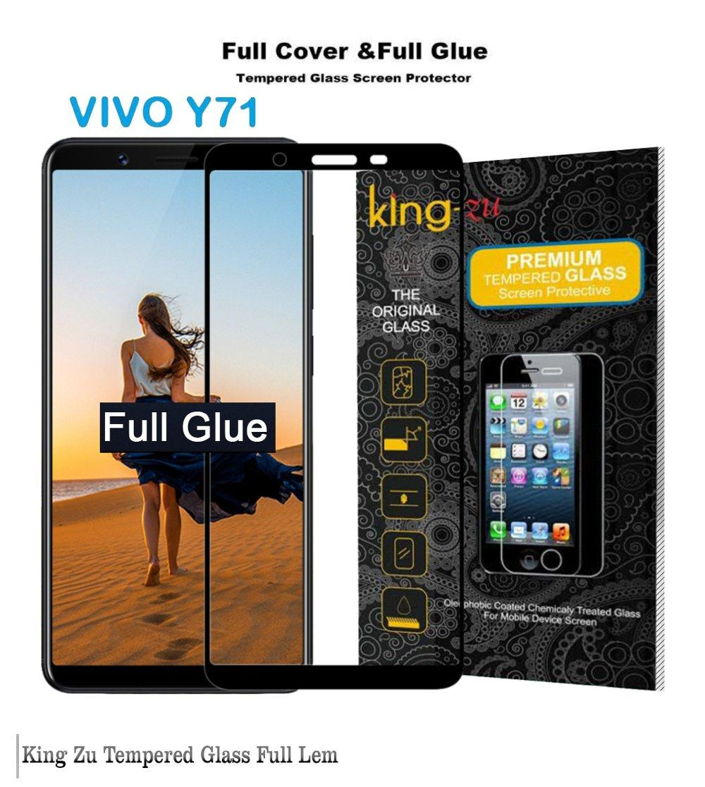 Tempered Glass Vivo Y71 Full Pelindung Layar Full GLUE anti gores kaca -HITAM FULL LEM