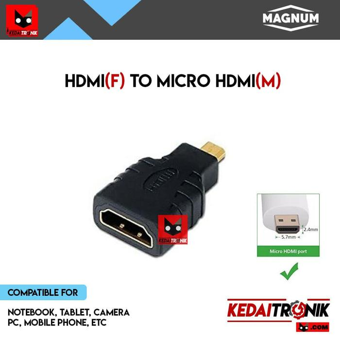 Gender HDMI Female To Micro HDMI Male MAGNUM Converter GOLD Connector
