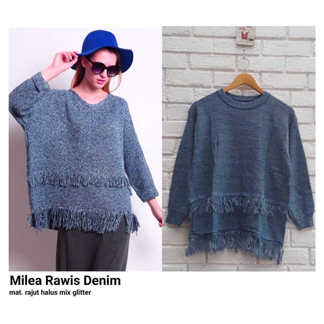 Sweater Milea Rawis Outer Rajut Halus Mix Gliter Baju Wanita Muslim Pakaian  Hangat Wanita Atasan Simple 85a8bef446