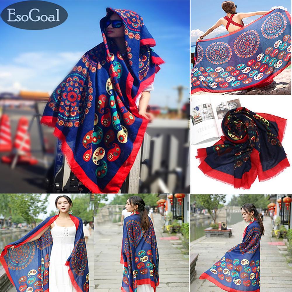EsoGoal Women's National Wind Shawl Cotton Long Scarf Lady's Soft Summer Seabeach Suntowels Bikini CoversThin with