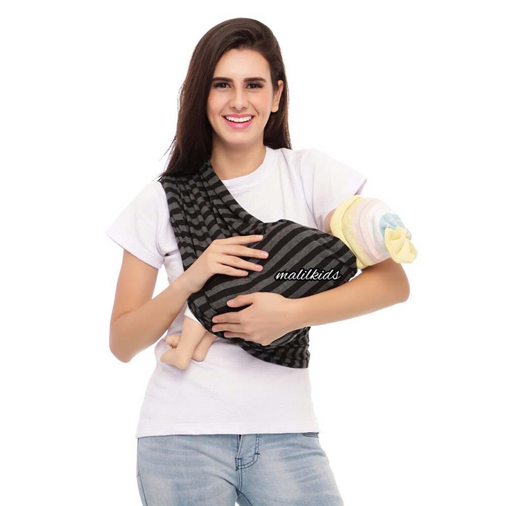Gratis Pouch! Size M - Malilkids Geos / Gendongan Kaos Basic / Gendongan Instan -