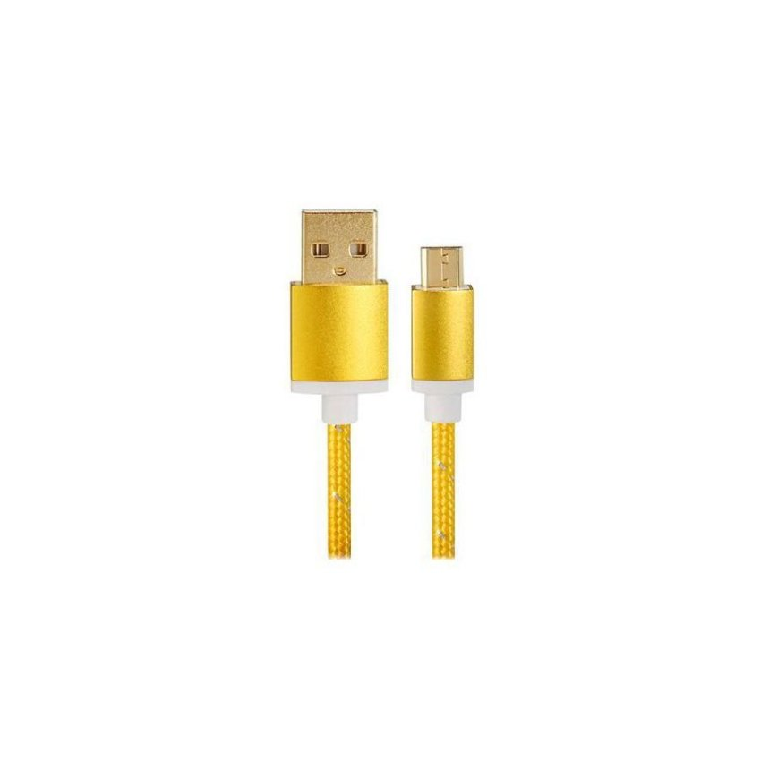 1.5M Micro USB to USB 2.0 Knit Charging Data Cable Golden