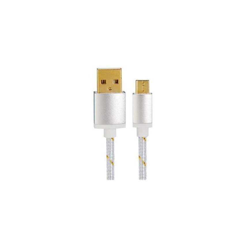 1.5M Micro USB to USB 2.0 Knit Charging Data Cable Silver