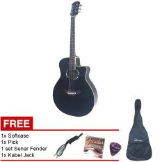 Gitar Akustik Elektrik APX Handmade Hitam + Softcase + 1 Pick + 1 Set Senar Fender + 1 Kabel Jack