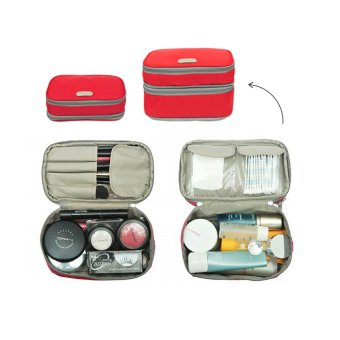 D'renbellony Expandable Cosmetic Pouch (Red) / Dompet Kosmetik / Tempat kosmetik / Tas Kosmetik / Cosmetic Organizer Drenbellony