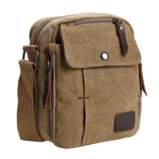 Vanker Men's Vintage Canvas Satchel School Military Shoulder Bag Messenger Bag (Brown)