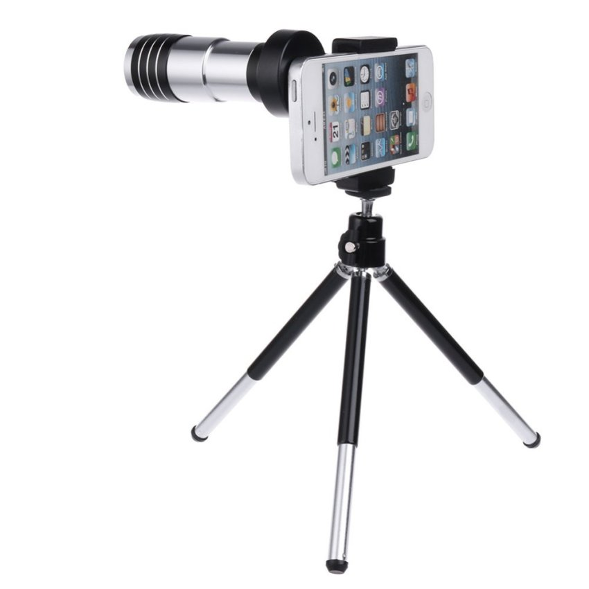 12 Times Telephoto Lens with A Cell Phone Holder Phone (Black/White) (Intl)