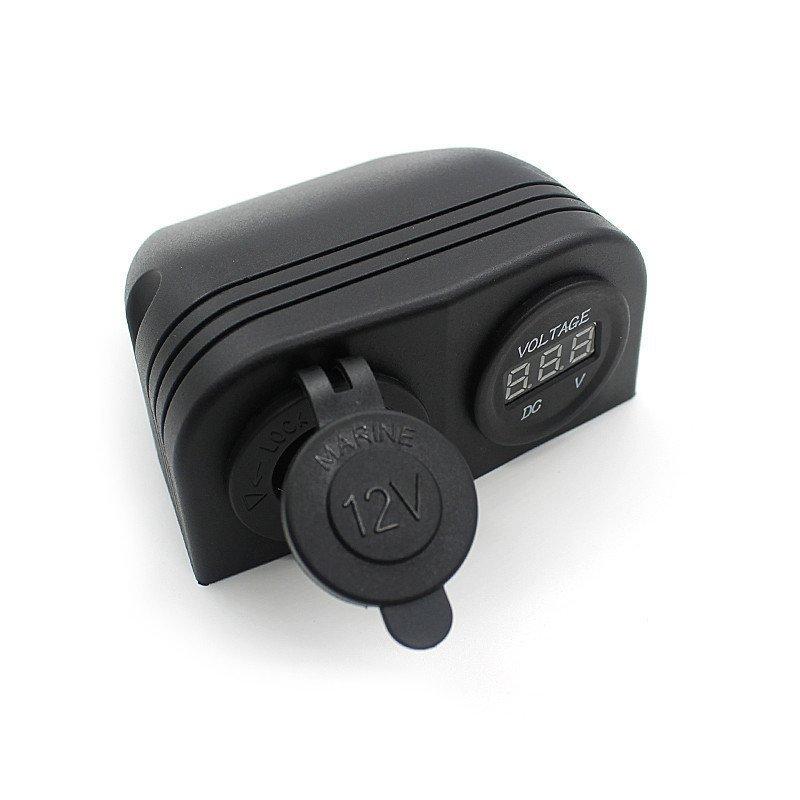 12V Dual Car Moto Cigarette Lighter Socket Digital Display Voltmeter +Holder (Intl)