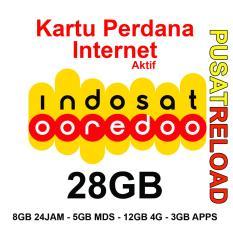Perdana Internet INDOSAT Kuota 28GB - 8GB 24 Jam, 5GB MDS, 12GB 4G & 3GB Apps