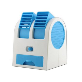 Mini AC Cooling Fan Portable Double Blower - Blue