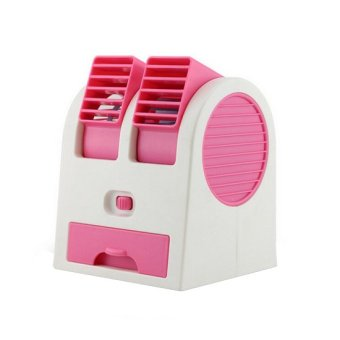 Mini AC Cooling Fan Portable Double Blower - Pink