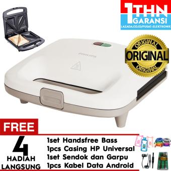 Philips Sandwich Maker HD2393 - Pemanggang Roti (White) Free Handsfree Headset Mega Bass + Garpu Dan Sendok + Case Universal + Kabel Data Android