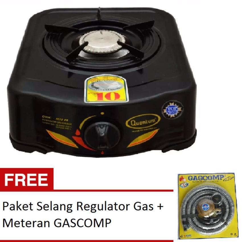 QUANTUM Kompor Gas 1 Tungku QGC101R FREE GASCOMP Paket Selang Regulator Gas