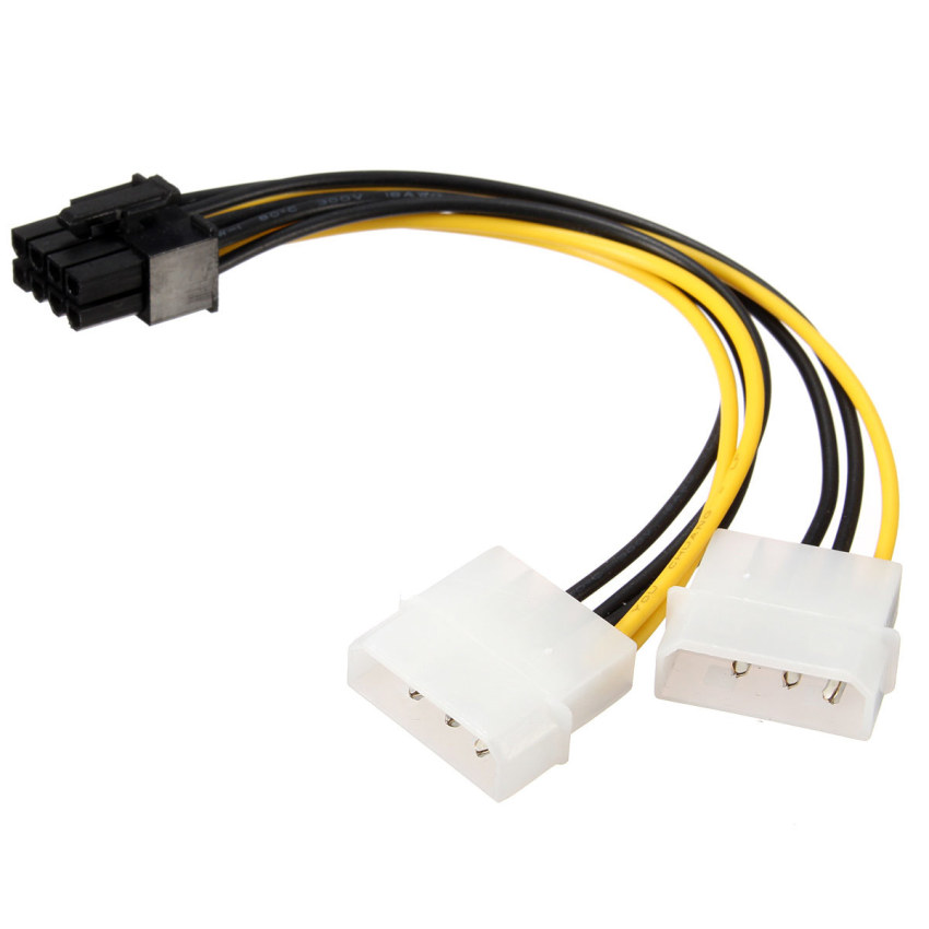 16cm/5'' 8 Pin PCI Express Male To Dual LP4 4Pin Molex IDE Power Cable Adapter (Intl)