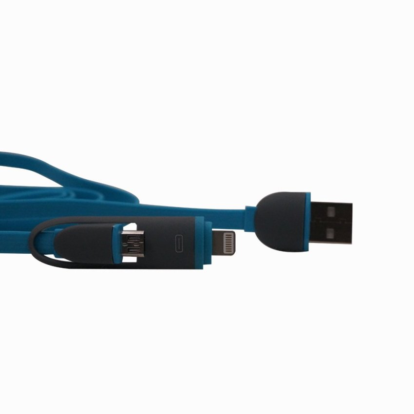 1m Ellipse 2in1 Micro USB Charging and Data Transfer Cable and 8 Pin Adapter For Phone 6 6 Plus 5 5S iPad Mini HTC Samsung Sony (Blue) (Intl)