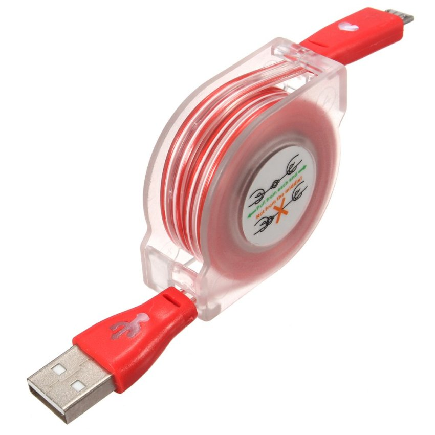 1M Visible Retractable LED Light Micro USB 2.0 Data Sync Charging Cable for Phone (Red) (Intl)