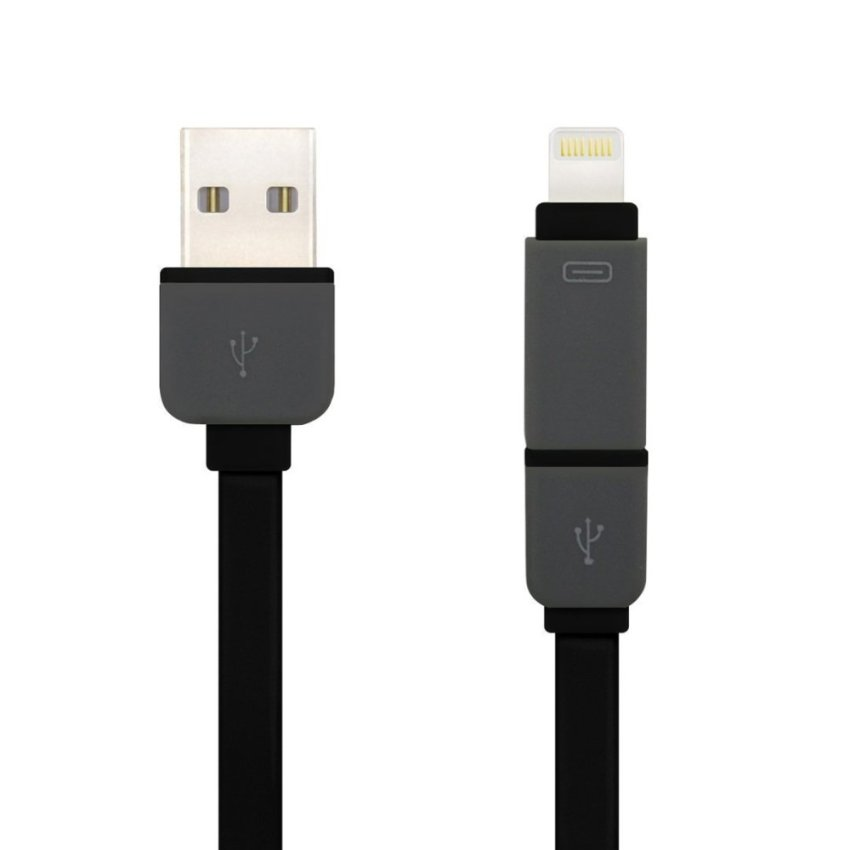 2 In 1 USB Charge Cable For iPhone 5 6 And Android Phones (Black)