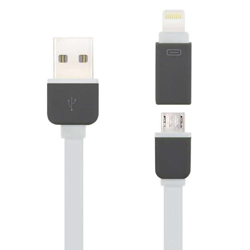 2 in 1 USB Charge Cable for iPhone 5 6 and Android Phones (White)