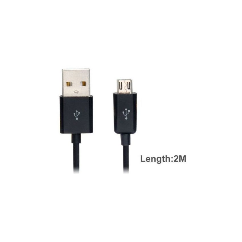 2 m Micro USB Charging Data Cable for Cell Phones Black