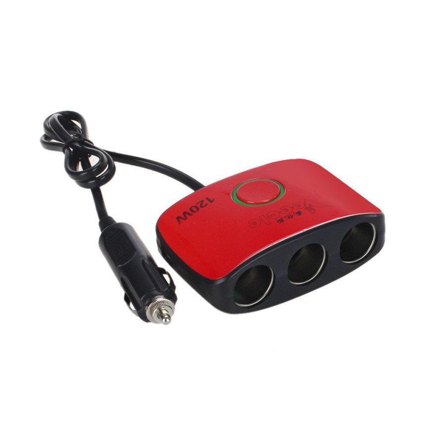 2 USB Cigarettes 3 Way Car Lighter Socket Splitter Charger Power Adapter Red (Intl)