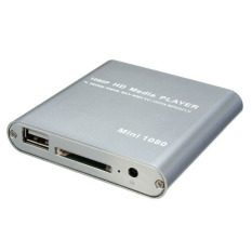 1080P Mini HDD Media Player MKV H.264 RMVB Full HD with HOST USB / SD Card Reader Silver (Intl)