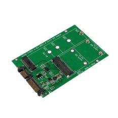 2 In 1 Mini PCI-E 2 Lane M.2 And MSATA SSD To SATA III 7 + 15 Pin Adapter Green - Intl