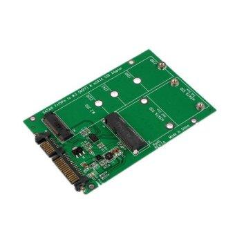 2 In 1 Mini PCI-E 2 Lane M.2 And MSATA SSD To SATA III 7 + 15 Pin Adapter Green