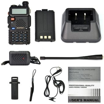 """2-Pack Baofeng Black UV-5R V2 + Dual-Band 136-174/400-520 MHz FM HAM"