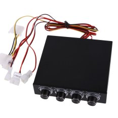 3.5inch PC HDD CPU 4 Channel Fan Speed Controller Led Cooling Front Panel (Intl)
