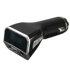 3.5mm 4-in-1 Wireless FM Transmitter Modulator Car Kit Blue LCD USB Charger MP3